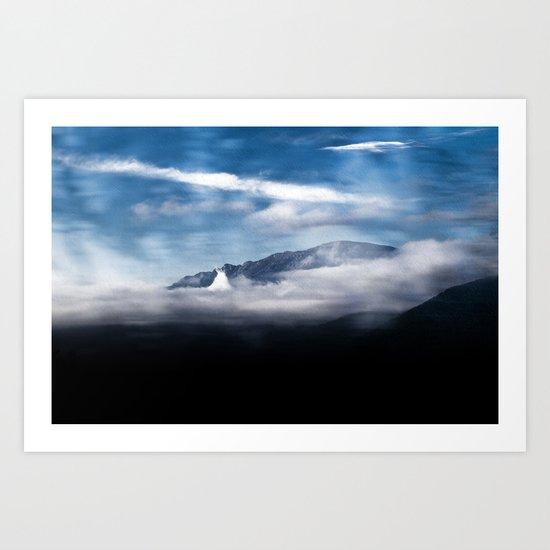 Mountains and fog. Landscape Art Print