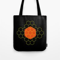 hexagon Tote Bags featuring HEXAGON by KARNATARKA