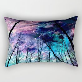 Black Trees Colorful SpacE Rectangular Pillow