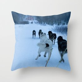 dog sledding, norway Throw Pillow