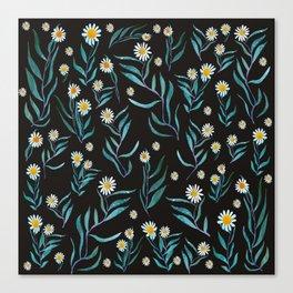 White Flowers Pattern Canvas Print