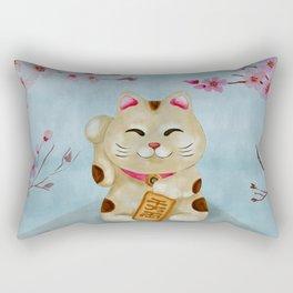 Watercolor Maneki-neko cat under flowering sakura Rectangular Pillow
