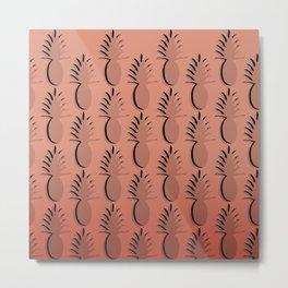 Pineapple Lines - coral Metal Print