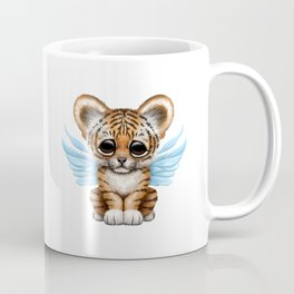 Cute Baby Tiger Cub with Fairy Wings on Blue Coffee Mug