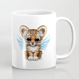 Cute Baby Tiger Cub with Fairy Wings on Blue Coffee Mug