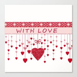 Red hearts on a white background. Canvas Print