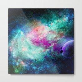 Teal Galaxy Metal Print