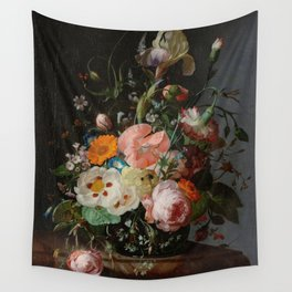 Still Life with Flowers on a Marble Tabletop, Rachel Ruysch, 1716 Wall Tapestry