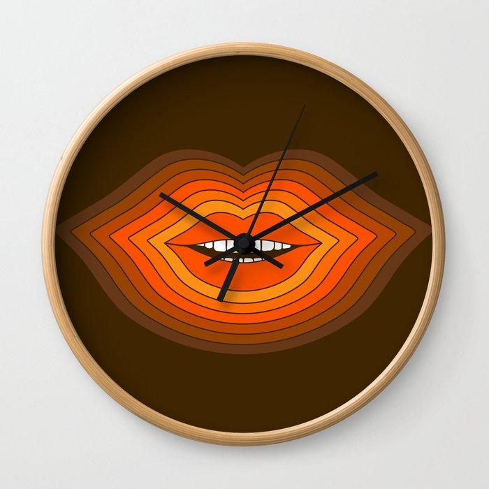 Pop Lips - Golden Wall Clock