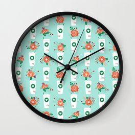 Coffee lovers mint floral bouquet gift idea for sbucks fan java pattern kitchen food Wall Clock