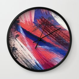 Los Angeles: A vibrant, abstract piece in reds and blues by Alyssa Hamilton Art Wall Clock