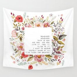 Remember, this is now - S. Plath Collection Wall Tapestry