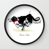 border collie Wall Clocks featuring Border Collie by Monica McClain