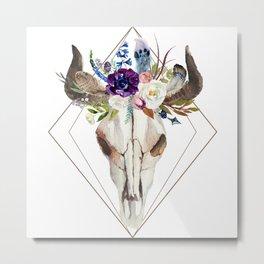 Modern geometric tribal floral bull skull Metal Print