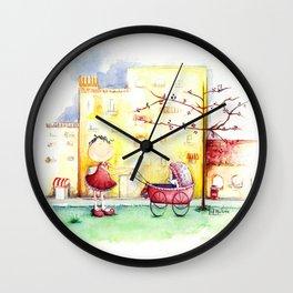 Let puppy ride Wall Clock