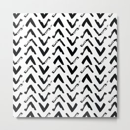 Black & White Mud Cloth Inspired Arrows Metal Print