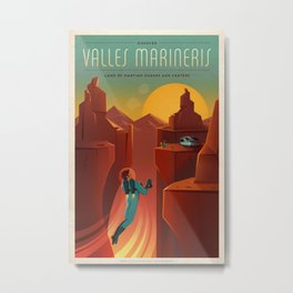 Vintage SpaceX Valles Marineris Mars Travel Metal Print
