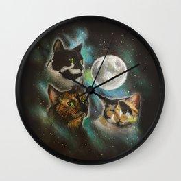 Three Cat Moon Wall Clock