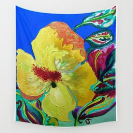 Birthday Acrylic Yellow Orange Hibiscus Flower Painting with Red and Green Leaves Wall Tapestry