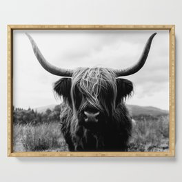 Scottish Highland Cattle Black and White Animal Serving Tray
