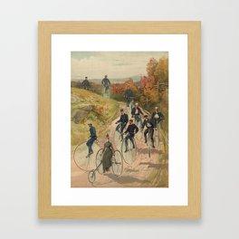 Vintage Bicycle Race 1800s Bike Riders Framed Art Print