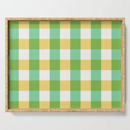 mint yellow plaid Serving Tray