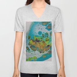 Burning Embers - Abstract Acrylic Art by Fluid Nature Unisex V-Neck