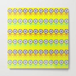 Lovely cute lollipop candy yellow pattern. Rows of beautiful retro vintage lollipops Metal Print