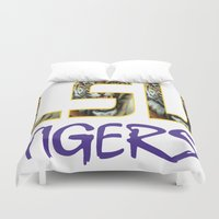 decal Duvet Covers featuring LSU NEW DECAL by The Greedy Fox
