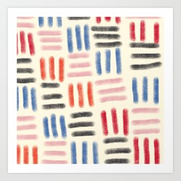 Red, Pink, and Blue Dash Mud Cloth Art Print