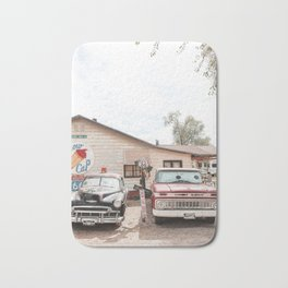 Old American Cars On Historic Route 66 In Arizona Photo Art Print | Travel Photography Bath Mat