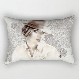 Scarlett Johansson  (black and white FANART ) Rectangular Pillow