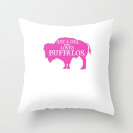 Just A Girl Who Loves Buffalos Pink, Buffalo Women, Bison Women, Bison Gift Throw Pillow