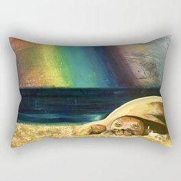 Sleepy Seal on the Beach Rectangular Pillow