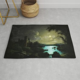 Classical Masteripiece 'A Castle and Lake by Moonlight' by Abraham Pether Rug