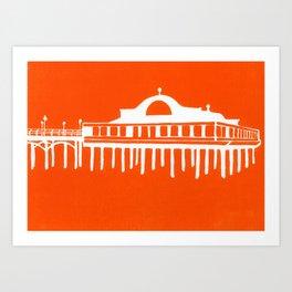 Seaside Pier in Orange Art Print