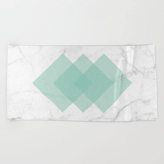 Marble Scandinavian Design Geometric Squares Beach Towel