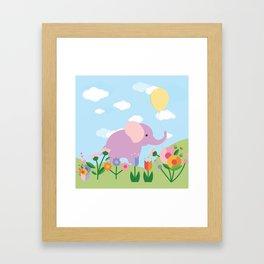 Purple Elephant and Balloons, nursery decor , Framed Art Print