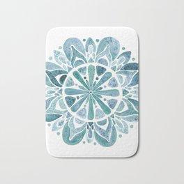 Watercolor Mandala III blue green Bath Mat