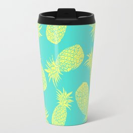 Pineapple Pattern - Turquoise & Lemon Travel Mug