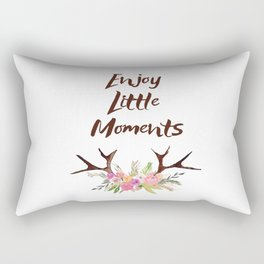 Deer Antlers with flowers , quotes , inspirational quote Rectangular Pillow