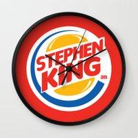 stephen king Wall Clocks featuring Stephen King by Alejo Malia