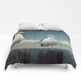 Two Sea Gulls on Pier Pilings Comforters