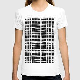 black and white random cross hatch lines checker pattern T-shirt
