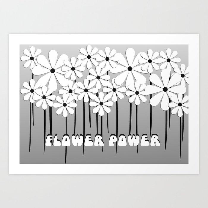Flower Power in Black and White Art Print