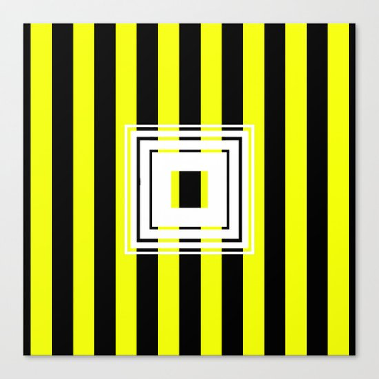 Bumblebee Box - Geometric, bold, yellow and black striped design Canvas Print