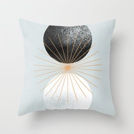 Abstract sun day and night made with geometrical shapes Throw Pillow
