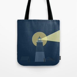 Lighthouse at Night Beach Decor Illustrated Print Tote Bag