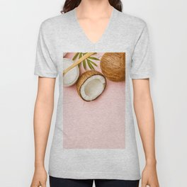 Coconut oil, tropical leaves and fresh coconuts Unisex V-Neck