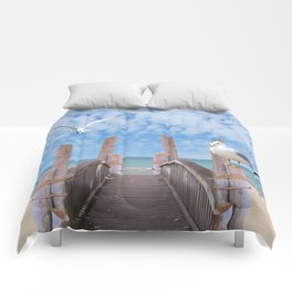 Dock on Beach with Seagulls A340 Comforters